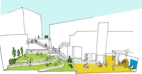 Herinrichting van de koer van Cultureel Centrum Jacques Franck