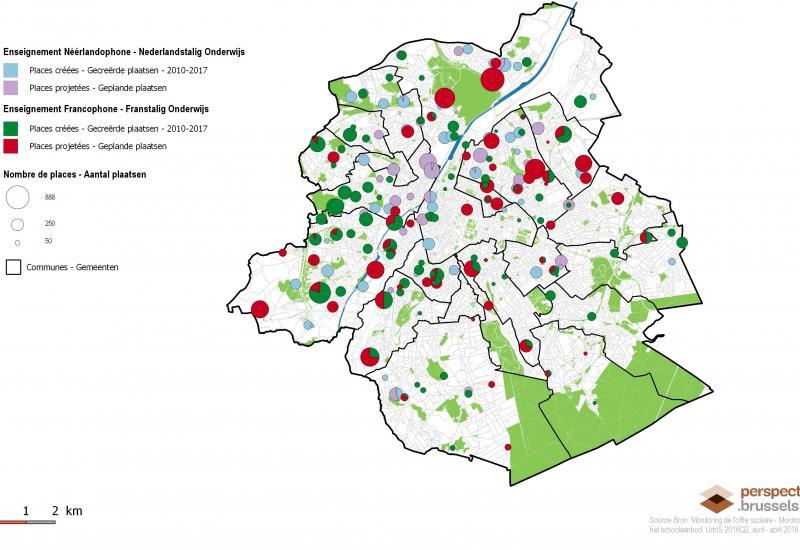 Source: Monitoring de l'offre scolaire – décembre 2018 – Service École de perspective.brussels