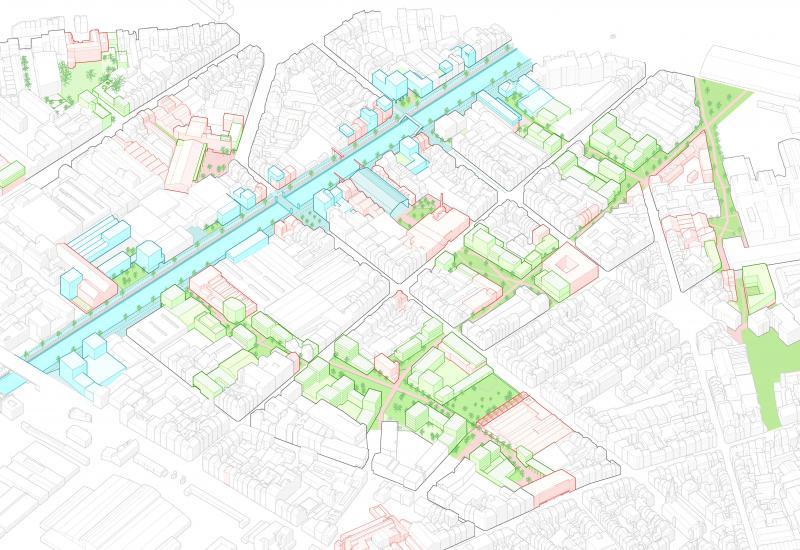 Voorstel om de openbare en groene ruimten rond het kanaal en de Heyvaertstraat herin te richten