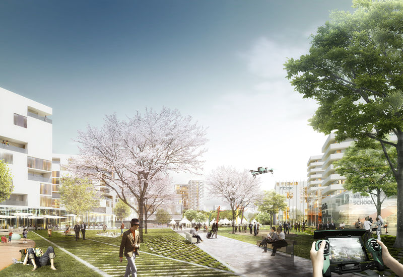impressie een nieuw stedelijk park met hoge gebruikdensiteit (ontwerpwedstrijd masterplan 2015)